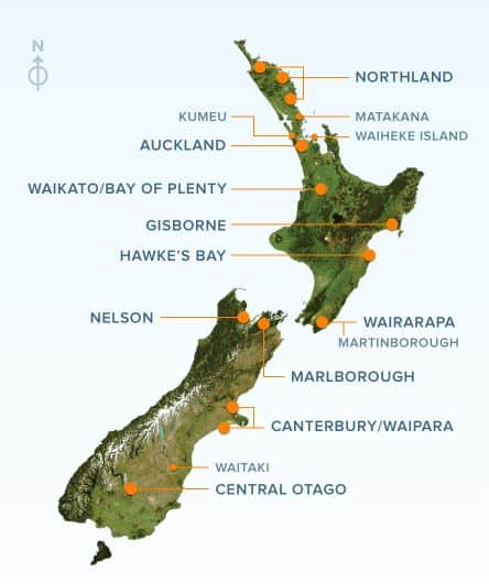 Best Wine Regions to Visit in New Zealand Map | Winetraveler.com