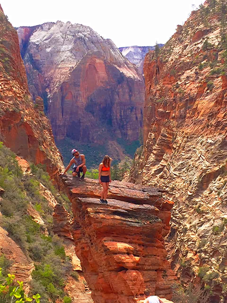 0331bcfb1b6 4 Day Itinerary for Zion National Park | Hiking Angel's Landing |  Winetraveler.com. Some brave souls climbed onto this rock structure not far  from the ...