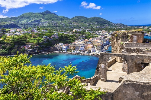 The view From Aragonese Castle in Ischia.