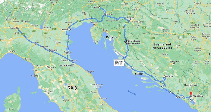 Balkans Itinerary Map and Route