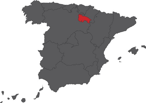 Map of the location of Rioja Spain